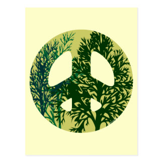 Green Trees Peace Sign Blank Art Card Postcard