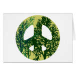 Green Trees Peace Sign Greeting Cards