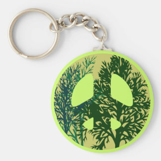 Green Trees Peace Sign Keychain