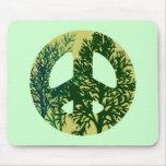 Green Trees Peace Sign Mousepad