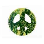 Green Trees Peace Sign Post Card