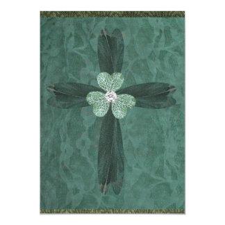 Green Trefoil Cross Card