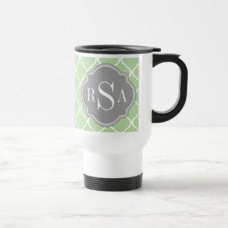 Green Trellis Pattern Gray Monogram Trio Stainless Steel Travel Mug