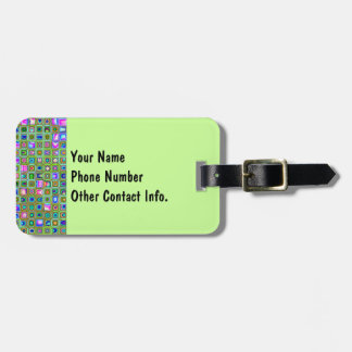 Green Trellis Textured Mosaic Tiles Pattern Travel Bag Tags