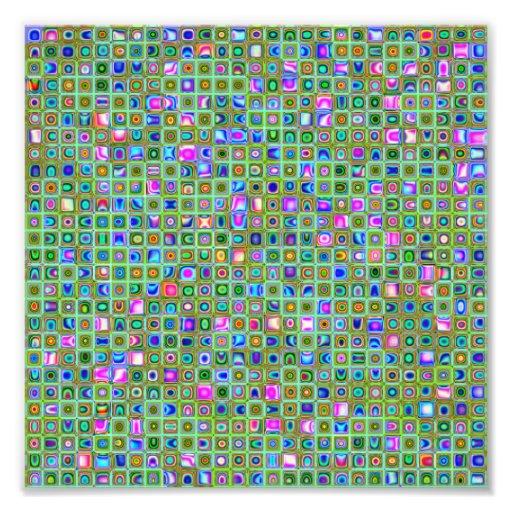 Green 'Trellis' Textured Mosaic Tiles Pattern Photograph