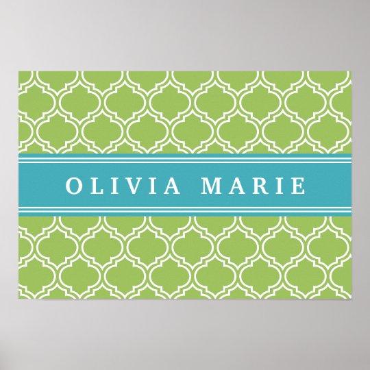 Green Trellis Vibrant Blue Name Template Poster