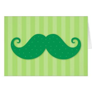 Green trendy hipster mustache card
