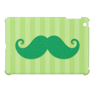Green trendy hipster mustache iPad mini cases