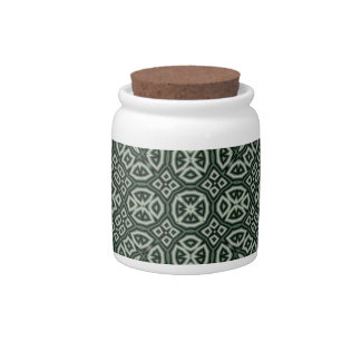 Green trendy pattern candy jars
