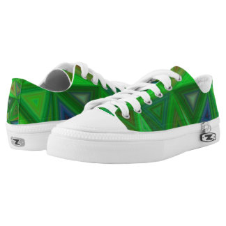 Green Triangles Low Tops