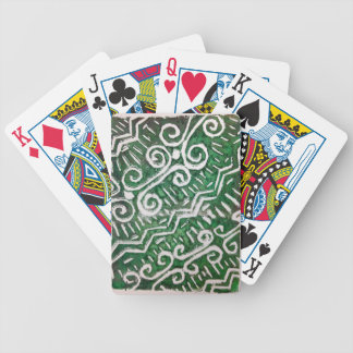 Green Tribal Print Playing Cards