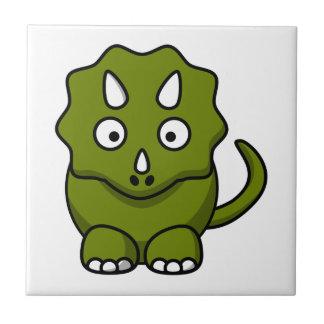 Green Triceratops Cartoon Ceramic Tiles