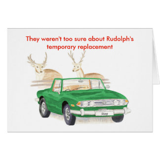 Green Triumph Stag Christmas card