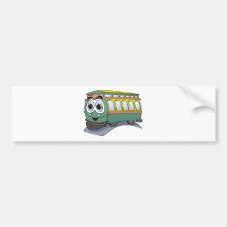 Green Trolley Cartoon Bumper Sticker