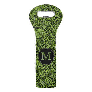 Green Tropical Damask with Monogram Wine Bag