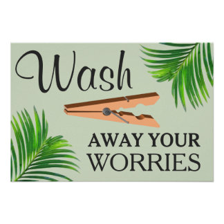 Green Tropical Funny Laundry Room Sign