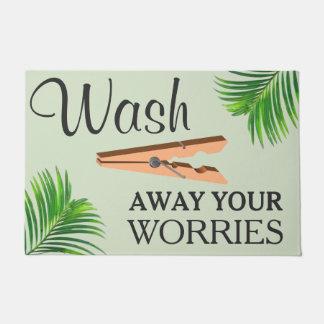 Green Tropical Funny Laundry Room Sign Doormat