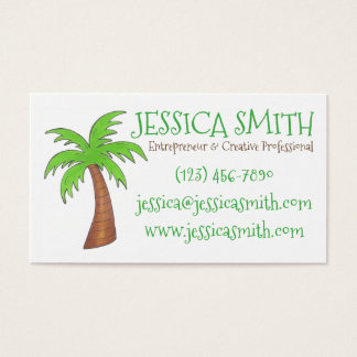 Green Tropical Island Beach Palm Tree Palmtree Business Card