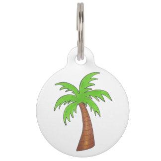 Green Tropical Island Palm Tree Dog Pet Tag
