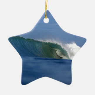 Green tropical island surfing wave christmas ornament