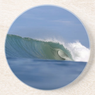 Green tropical island surfing wave drink coaster