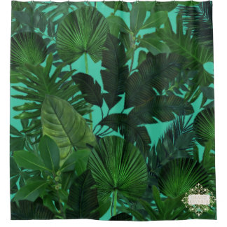 Green Tropical Leaf Pattern Shower Curtain