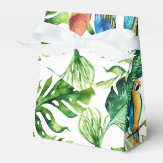 Green Tropical Leaves & Birds Wedding Favor Favour Box