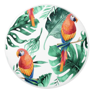 Green Tropical Leaves & Parrots Summer Island Ceramic Knob