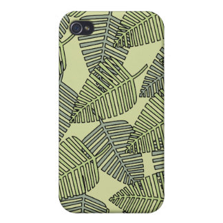 Green Tropical Leaves Pern iPhone 4/4S Covers