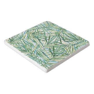 Green Tropical Leaves Watercolor Trivet