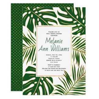 Green tropical leaves wedding bridal shower card