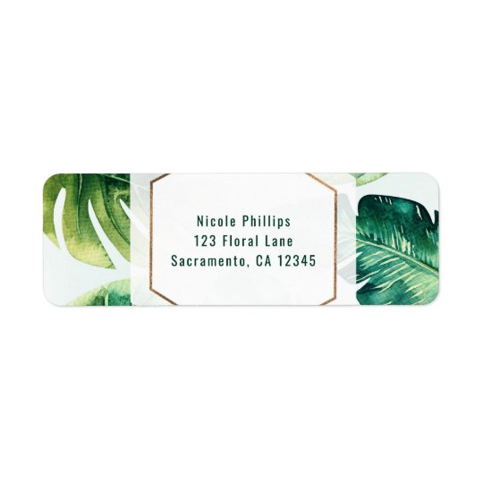 Green Tropical Leaves White Elegant Invitation Return Address Label
