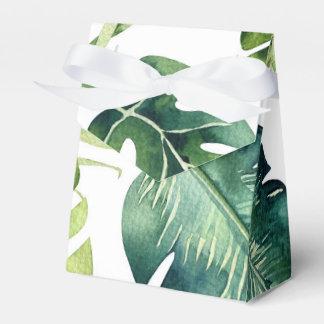 Green Tropical Leaves White Elegant Wedding Favor Favour Box