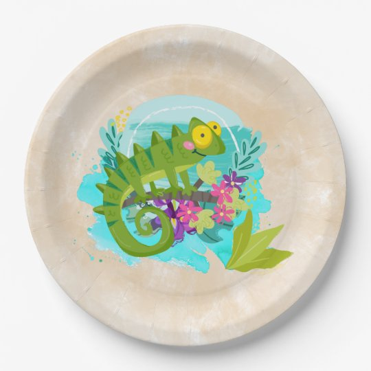Green Tropical Lizard with Flowers 9 Inch Paper Plate