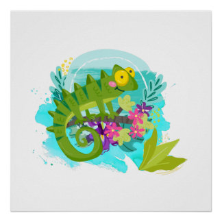 Green Tropical Lizard with Flowers Poster
