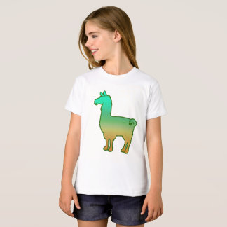 Green Tropical Llama Kids T-Shirt