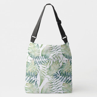 Green Tropical Palm Leaves Crossbody Bag