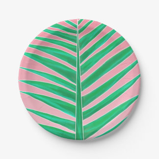 Green tropical palm tree leaf watercolor pink paper plate