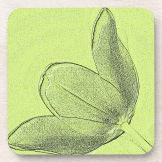 Green Tulip Beverage Coaster