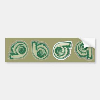 Green Turbo Car Bumper Sticker