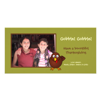 Green turkey gobble Thanksgiving photo greeting Photo Cards
