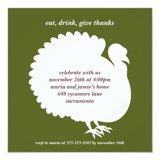 Green turkey square Thanksgiving invitation card