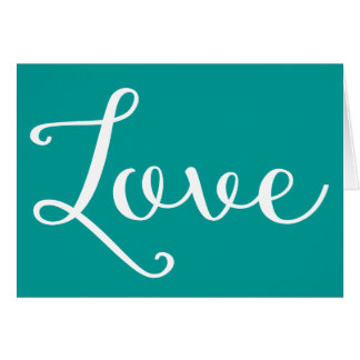 Green Turquoise Teal Love - Wedding Party Card