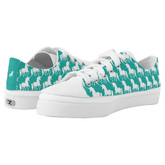 Green Turquoise Unicorn Pattern Trendy Stylish Fun Low Tops