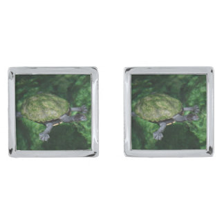 Green Turtle Cufflinks Silver Finish Cuff Links