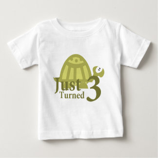 Green Turtle: Just Turned Three Baby T-Shirt