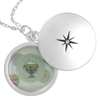 Green turtle mania locket necklace