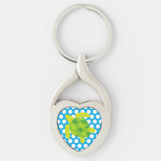 Green Turtle on Blue Dotted Key Chain Silver-Colored Twisted Heart Key Ring