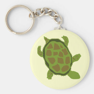 Green Turtle Tshirts and Gifts Basic Round Button Key Ring