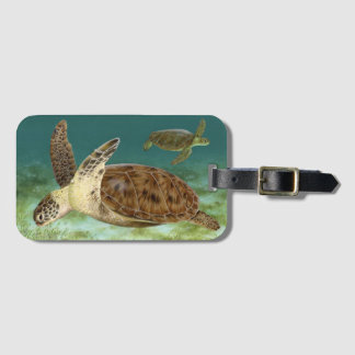 Green Turtles in Habitat Luggage Tag